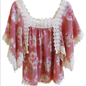 Anthropologie Eloise Sheer Crotchet Lace Top